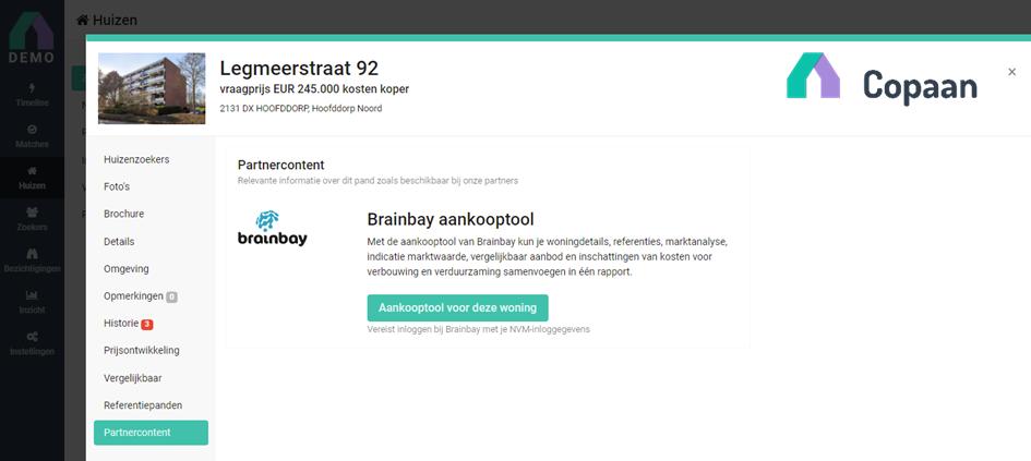 Brainbay samenwerking Copaan aankooptool